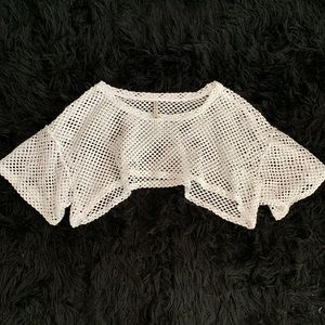 Emma & Sam White Mesh Hole Crotchet Crop Top
